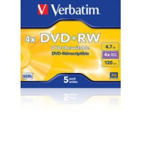 Диск DVD+RW Verbatim 4.7Gb 4x DataLife+ Jewel Case (5шт)